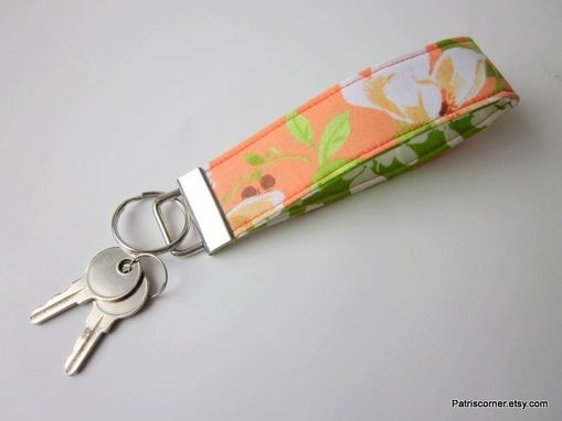 Custom Made Handmade Keyring Key Fob Or Key Holder Orange Green White Flower, Vegan