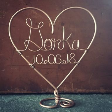 Custom Made Metal Heart Wedding Cake Topper With Last Name And Date