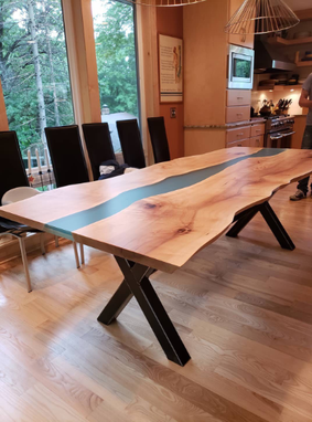 Custom Made Live Edge River Table - Maple With Epoxy Resin