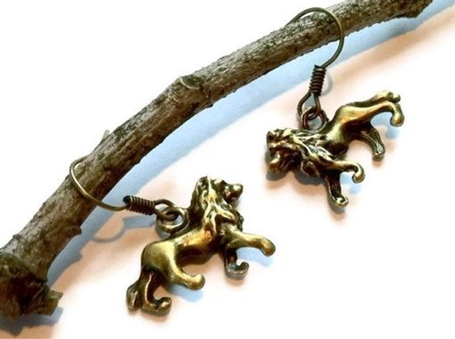 Custom Made Bronze Lion Earrings