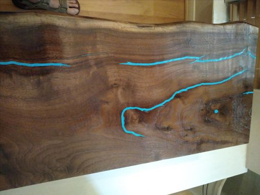 Custom Made Live Edge Walnut Slab Console / Sofa Table With Turquoise Inlay