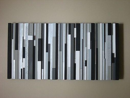 Custom Modern Wood Wall Art Sculpture Black White Greys