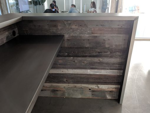 Custom Made Silvered Reclaimed Barnwood And Stainless Steel Reception Desk