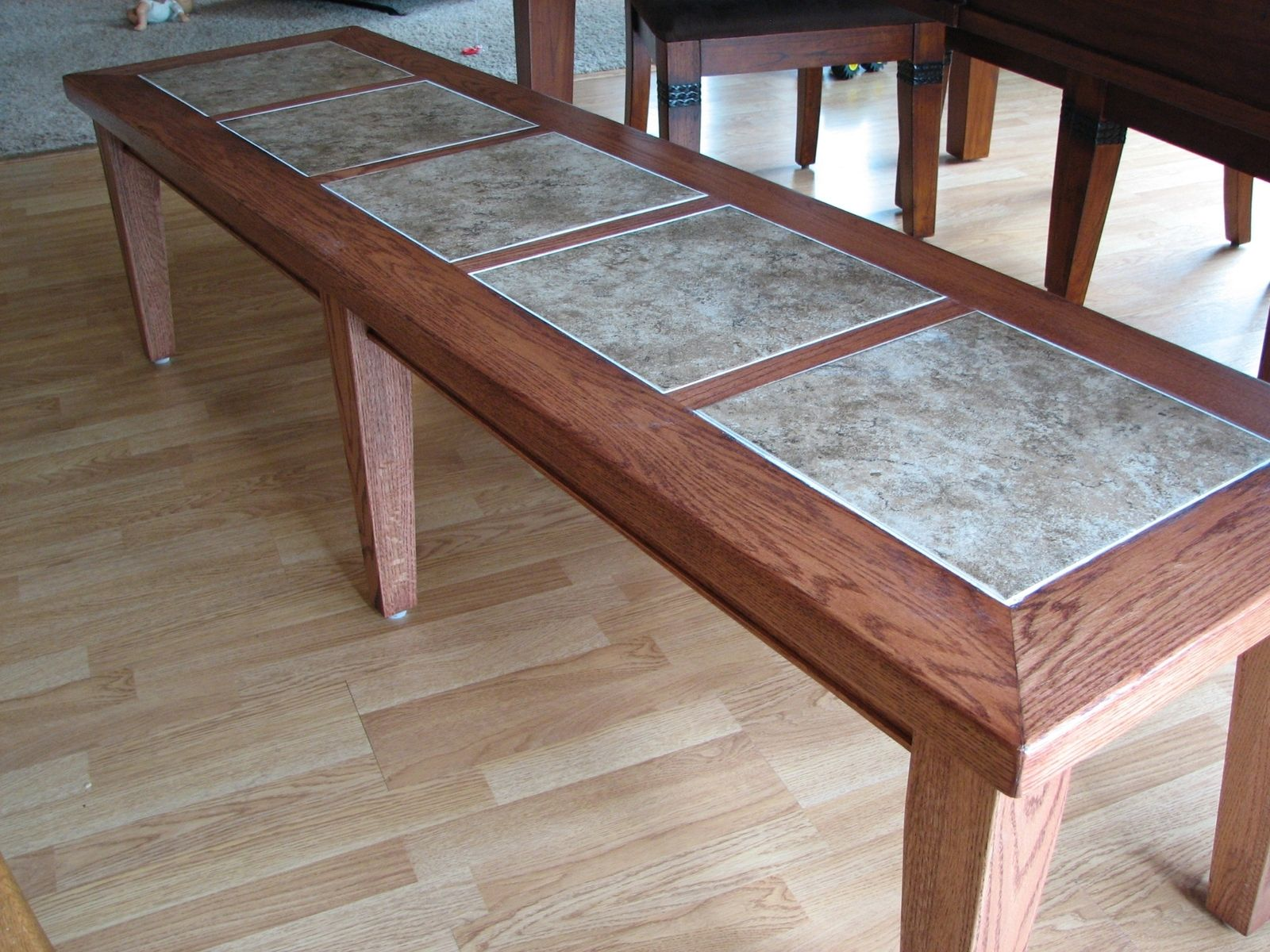 Hand Crafted Inlay Tile Dining Table Bench by Stockwell Creek