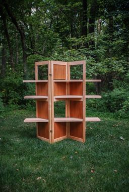 Custom Made Maple And Mahogany Adjustable Room Divider Bookcase