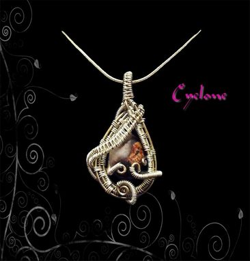 Custom Made Silver Wire Wrapped Pendant With Jasper