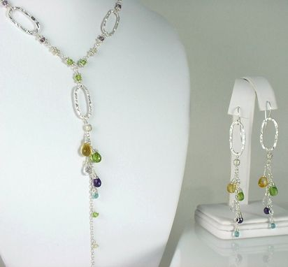 Custom Made Long And Sexy Silver Necklace With Gemstones