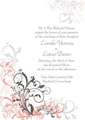 Custom Made Elegant Flourish Wedding Invitation Suite -- Invite, Response Card + Reception Card