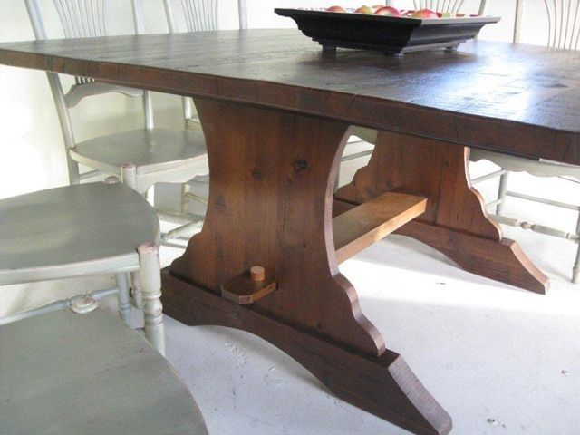 Hand Made Square Brown Cherry Trestle Dining Table By - Square trestle dining table