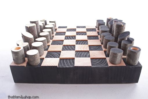 Custom Made Modern, Minimalist Rustic Chess Set, Wood Log Branch Pieces