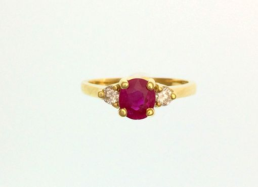 Custom Made Oval Ruby & Diamond 3 Stone Ring - 18k Yellow Gold - Alternative Engagement Ring