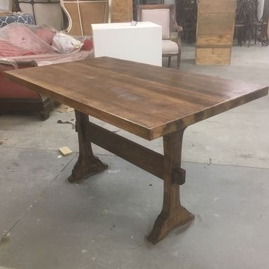Custom Made Trestle Wood Dining Table