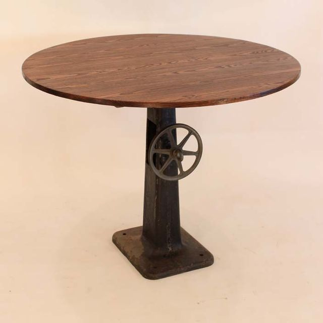 Buy A Handmade Rt Round Antique Industrial Base Pub Table Made - Staples round table