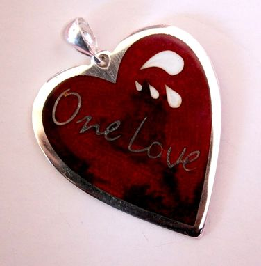 "Custom Made ""One Love"" Heart Silver Cloisonne Pendant"