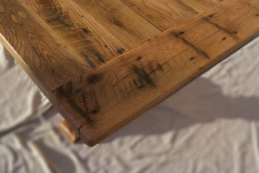 Custom Made Reclaimed American Oak Dining Table With Trestle Base
