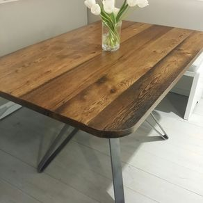 Reclaimed Wood And Steel Pedestal Table
