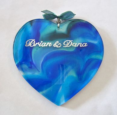 Custom Made Fused Glass Heart Engagement Gift