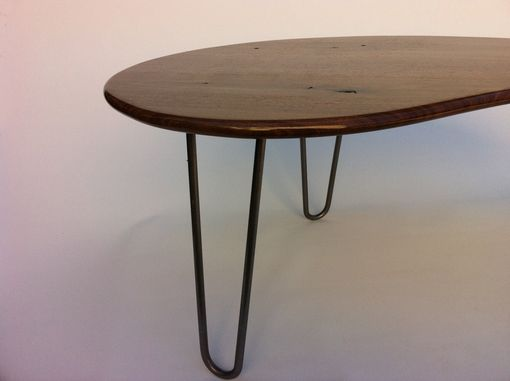 Custom Made Mid Century Modern Coffee Table - Solid Walnut Cocktail Table - Kidney Bean Shaped