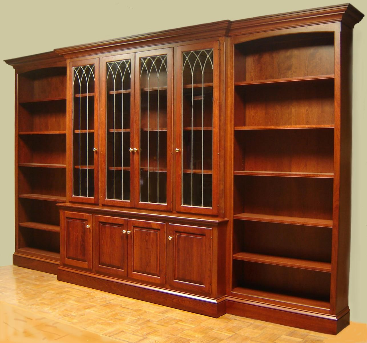 Hand Crafted Cherry Bookcase With Leaded Glass Doors And ...