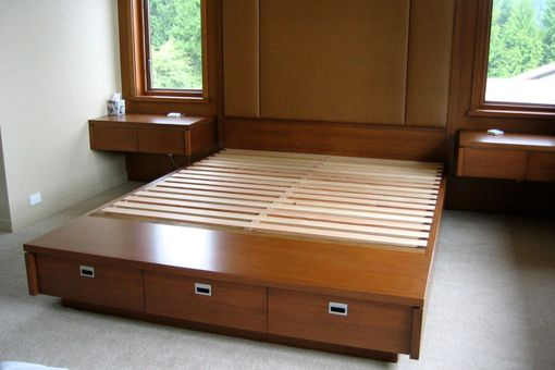 Custom Made Modern Platform Bed With Drawers