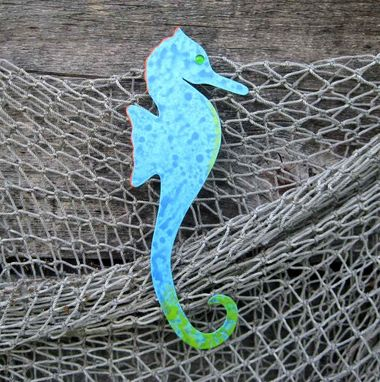 Custom Made Handmade Upcycled Metal Turquoise Seahorse Wall Art Sculpture