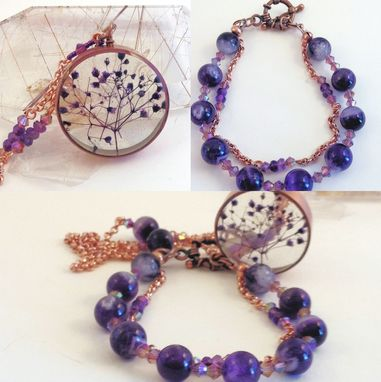 Custom Made Queen Annes Lace Dried Flower Amethyst Necklace And Matching Bracelet