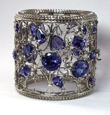 Custom Made 18k White Gold And Tanzanite Cuff Bracelet