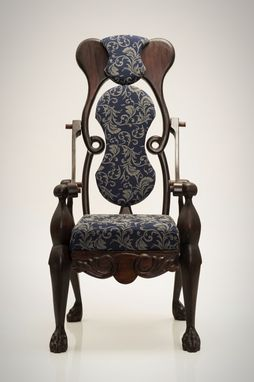 Custom Made Handcarved Mahogany Chair