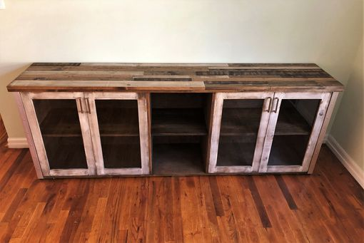 Custom Made Distressed Wood Rustic-Industrial Console Cabinet