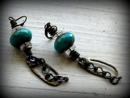 Custom Made Blue Green Faceted Glass With Brass And Silver Metalwork Dangling Earrings