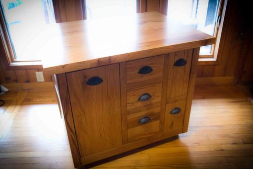 Custom Made Mobile Bur Oak Kitchen Island