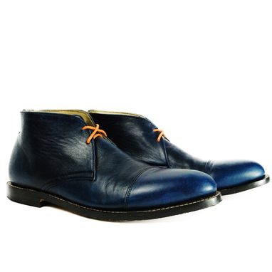 Custom Made Baudelaire Blue Chukka Cap Goodyear Welted Boots Toe Boots.