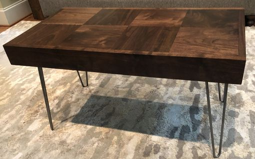 Custom Made Coffee, Accent Or End Table With  Inlaid Walnut And Hair Pin