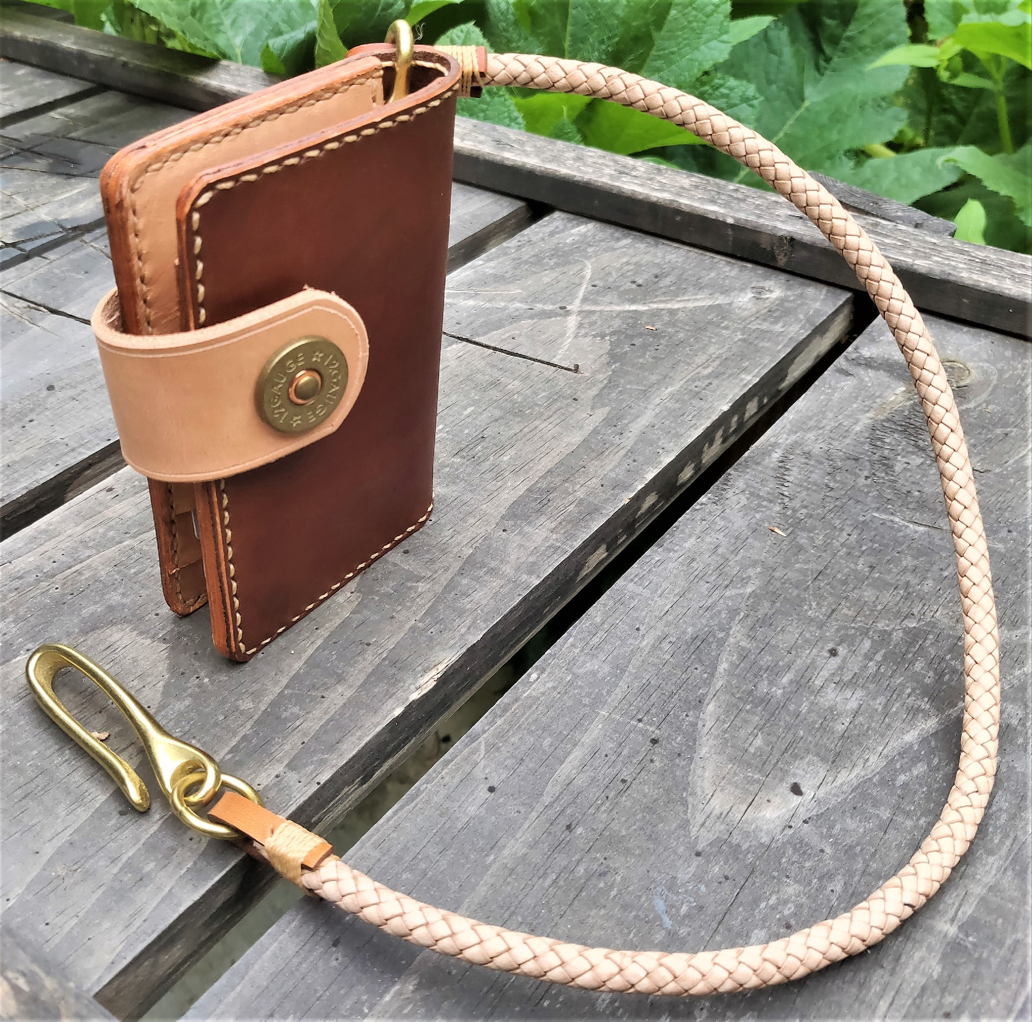 851c9fe1cf0d Handmade Leather Biker Wallet Raeda Vegetable Tanned Natural Brown With  Braided Chain