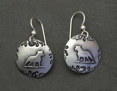 Custom Made Amstaff Earrings With Paisley Border - Small