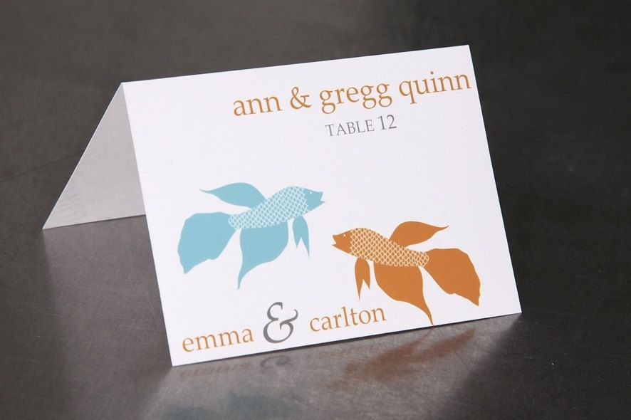 Hand Made Wedding Place Cards - Fish And Coral Beach Wedding ...