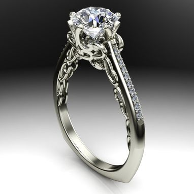 Custom Made Cathedral Scroll Designed Diamond Solitaire Engagement Ring