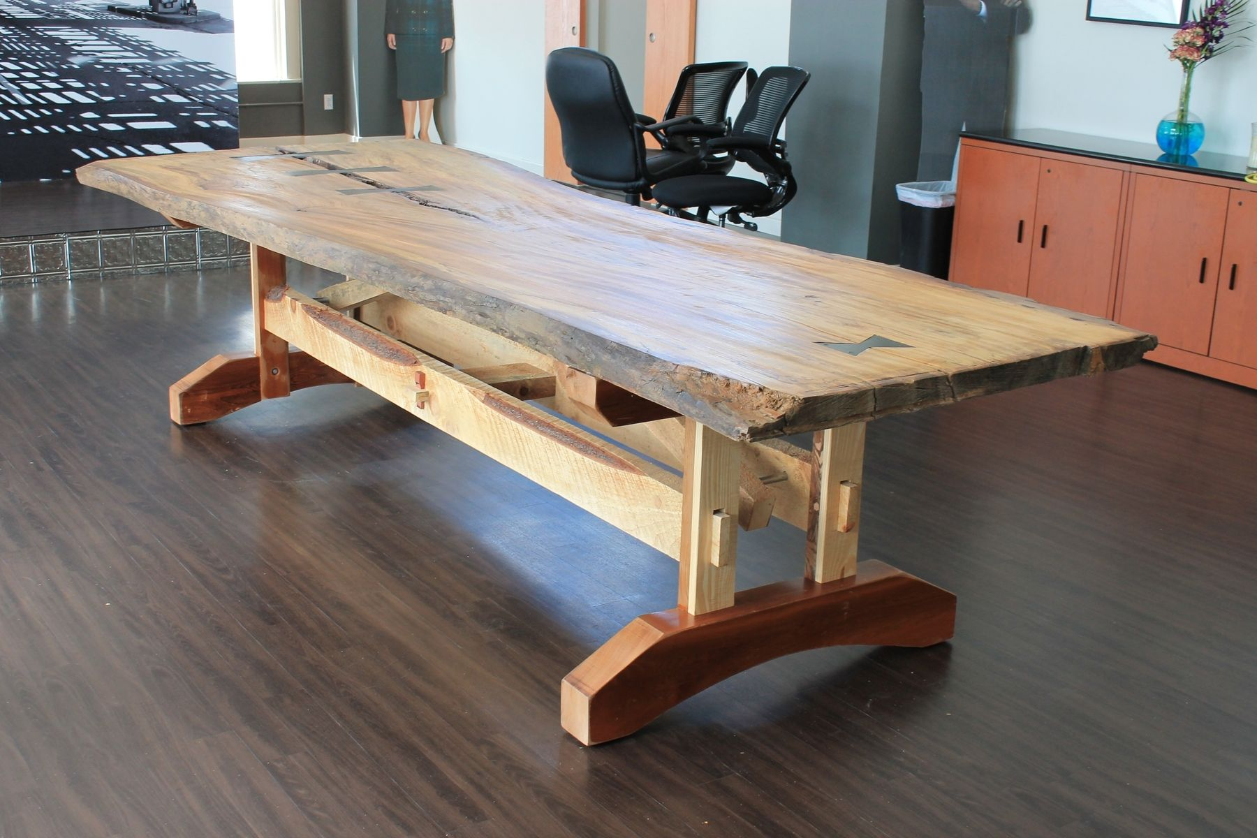 Hand Crafted Reclaimed Live Edge Elm Table By Crafty