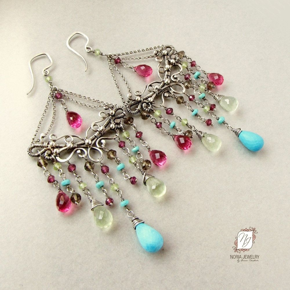 Handmade large chandelier earrings sterling silver and gemstones by custom made large chandelier earrings sterling silver and gemstones arubaitofo Image collections