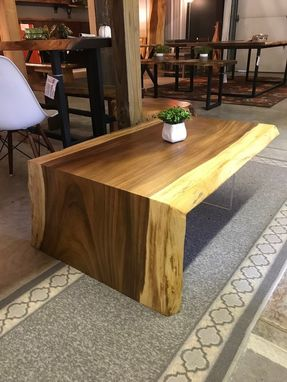 Custom Made Monkey Pod Live Edge Waterfall Acrylic Leg Coffee Table