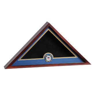 Custom Made Coast Guard Flag Display Cases, Uscg Flag Case With A Medallion
