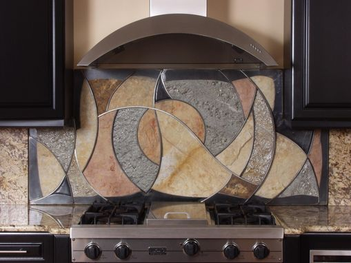 Custom Made Circles And Waves Backsplash