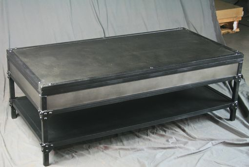 Custom Made Handmade Vintage Industrial Steel Lift Top Coffee Table With Shelf