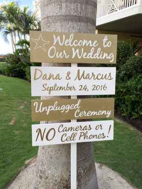 Custom Made Wedding Welcome Sign. Gold Beach Wedding Decor
