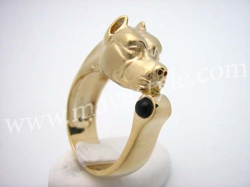 Custom Made 10 Karat Yellow Gold Pitbull Ring