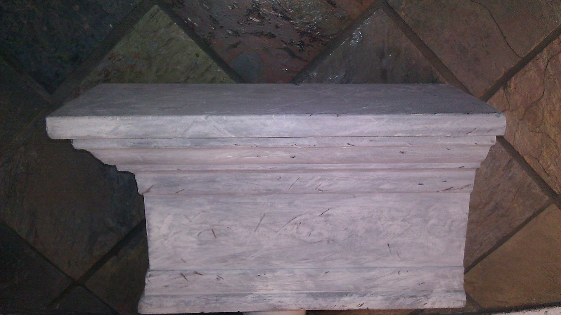 Hand Crafted Mantle Whitewashed Distressed Mantle Shelf