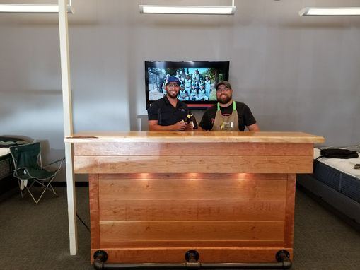Custom Made Freestanding Cherry And Maple Entertainment Bar