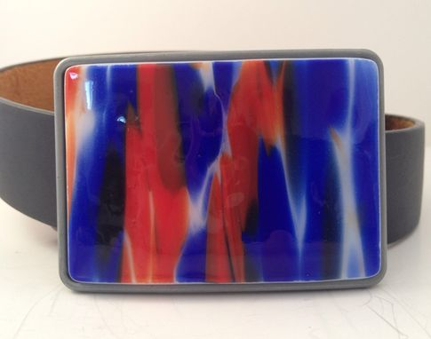 Custom Made The Nations Colors Fused Glass Belt Buckle