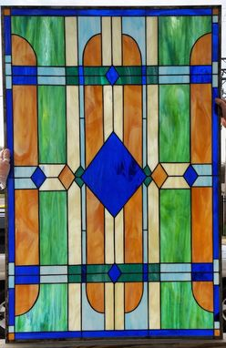 "Custom Made Stained Glass Windows - ""Blues/Greens/Amber Shades"" (W-76)"