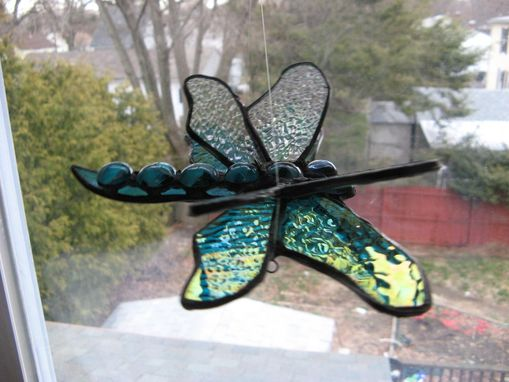 Custom Made Double Winged Dragonfly Stained Glass Art In Aqua And Teal